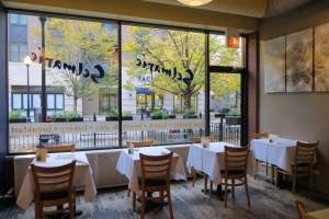 Cafe Selmarie's dining room overlooking Giddings Plaza in Lincoln Square.