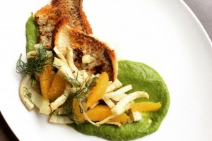 Whitefish with orange supreme, fennel, and spring pea puree.